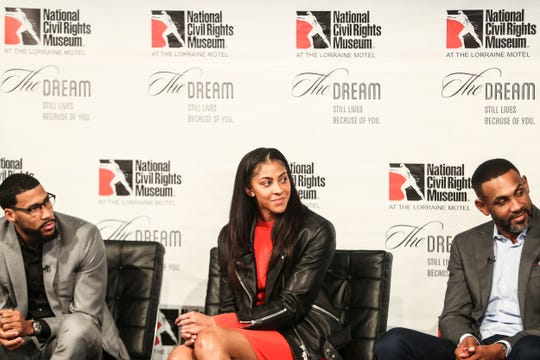 From left, Garrett Temple, Candace Parker and Grant Hill listen as Marc Spears, not pictured, speaks during the Intersection of Race & Sports panel discussion at the National Civil Rights Museum on Sunday.