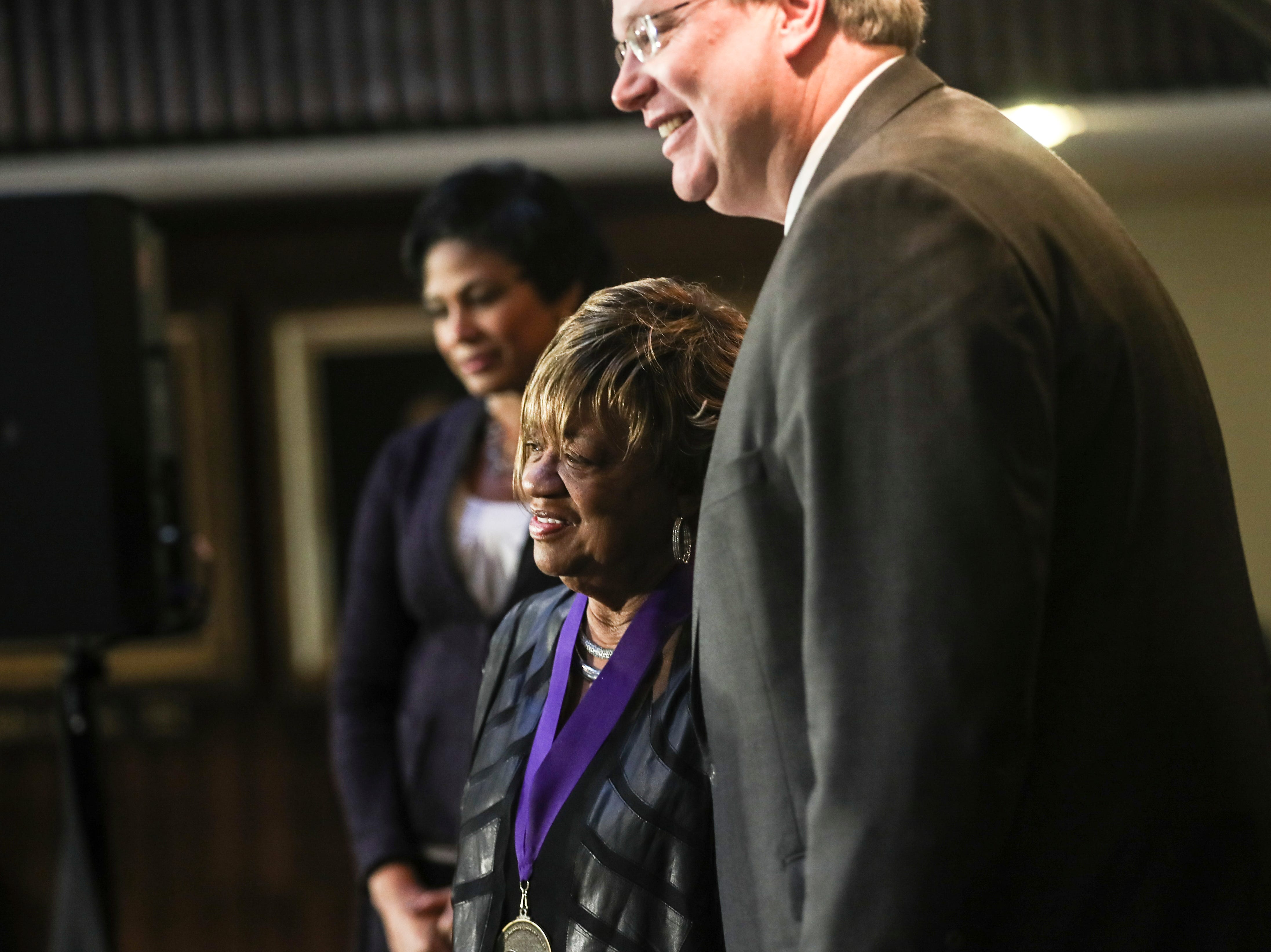 January 21 2019 - Hazel Moore poses for a picture with Memphis Mayor Jim Strickland after receiving her award during the 2019 MLK Luminary Awards at the Hall of Mayors in City Hall.