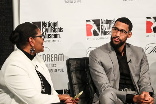 Terri Freeman, president of the National Civil Rights Museum, and Garrett Temple, Memphis Grizzlies player, speak during the Intersection of Race & Sports panel discussion at the National Civil Rights Museum on Sunday.