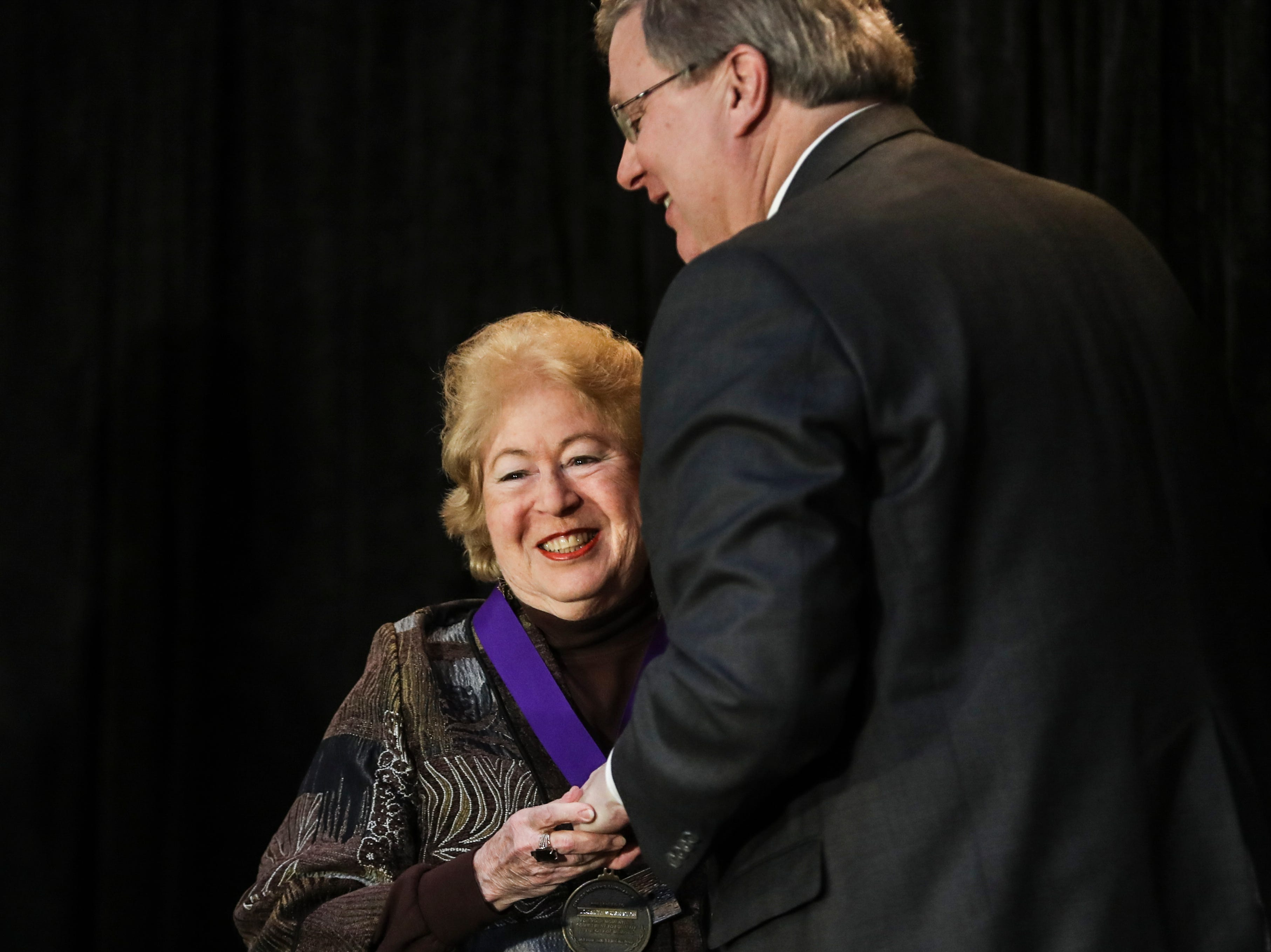 January 21 2019 - Jocelyn Dan Wurzburg embraces Memphis Mayor Jim Strickland after receiving her award during the 2019 MLK Luminary Awards at the Hall of Mayors in City Hall.