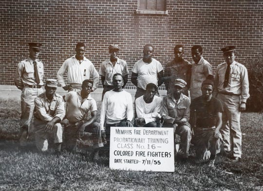 Floyd Newsum Sr., (bottom row, third from right) was one of Memphis' first black firefighters in the 1950s.