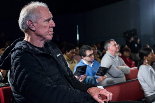 January 20 2019 - Bill Walton watches the Intersection of Race & Sports panel discussion at the National Civil Rights Museum. Walton was one of the National Civil Rights Museum Sports Legacy Award recipients