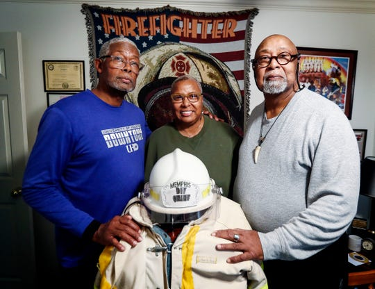 Floyd Newsum Sr., who was one of Memphis's first black firefighters in the 1950s, died last week. Pictured from (left to right) are his children Floyd Newsum Jr., Vicki Newsum-Hall and Ike Okafor-Newsum. Newsum Sr., retired from the Memphis Fire Department in 1989 after a 32-year career.