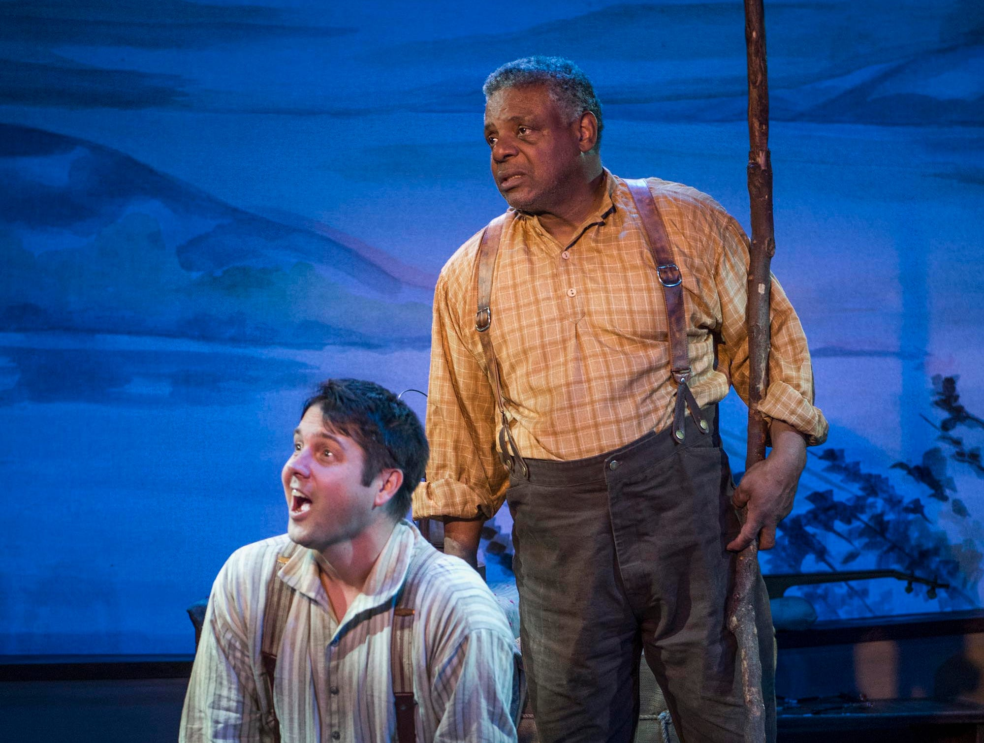 """Spiff Weigand (left) and Harvy Blanks sing in """"Mark Twain's River of Song,"""" staged by Milwaukee Repertory Theater at the Stackner Cabaret."""