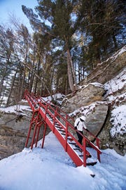 A staircase leads to the top of a sandstone rock formation at Pier County Park in Rockbridge.