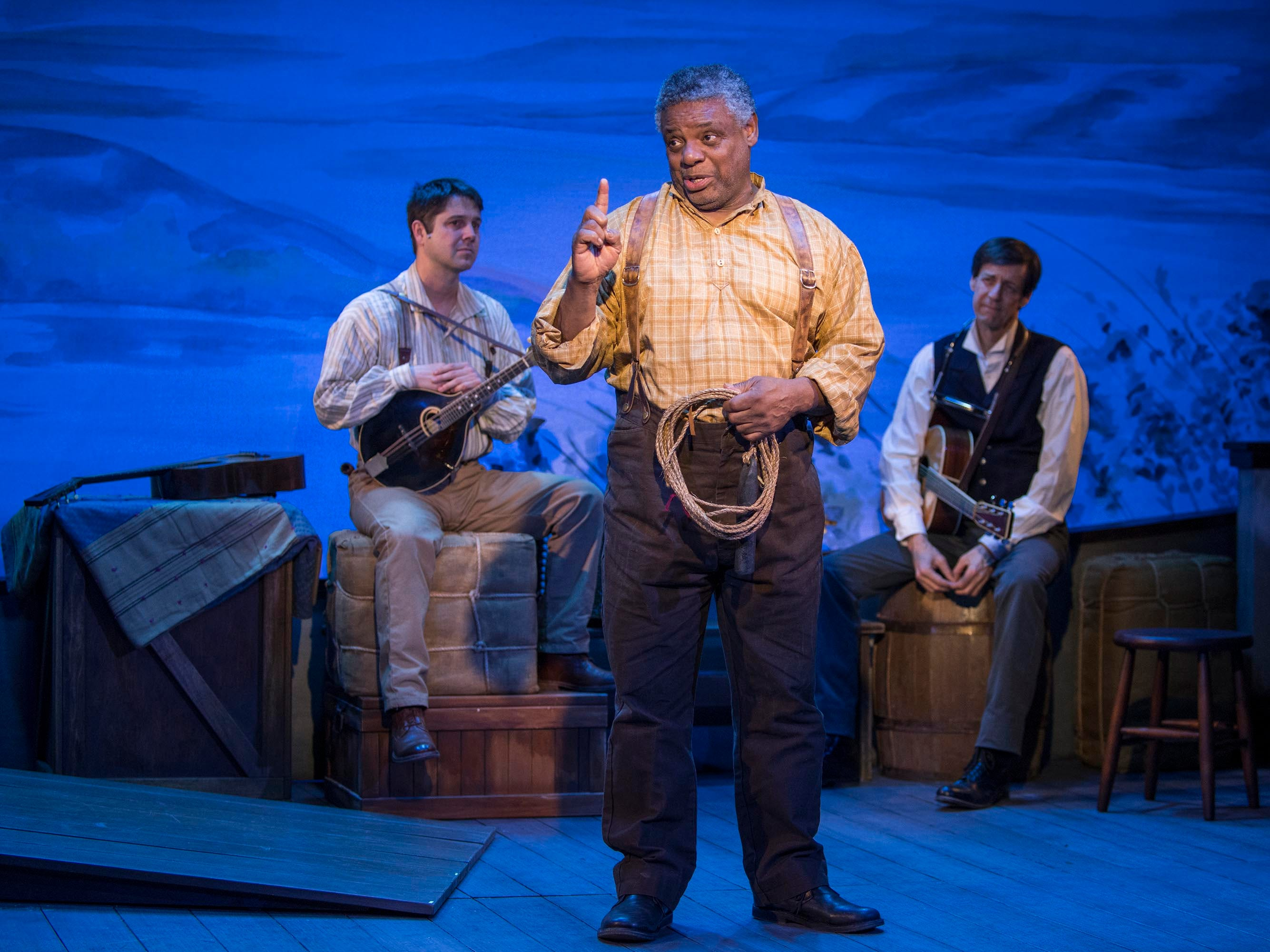"""Spiff Weigand (left), Harvy Blanks and David Lutken perform in """"Mark Twain's River of Song,"""" staged by Milwaukee Repertory Theater at the Stackner Cabaret."""