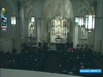 Hundreds of mourners attended services for Father Alfred Kunz.