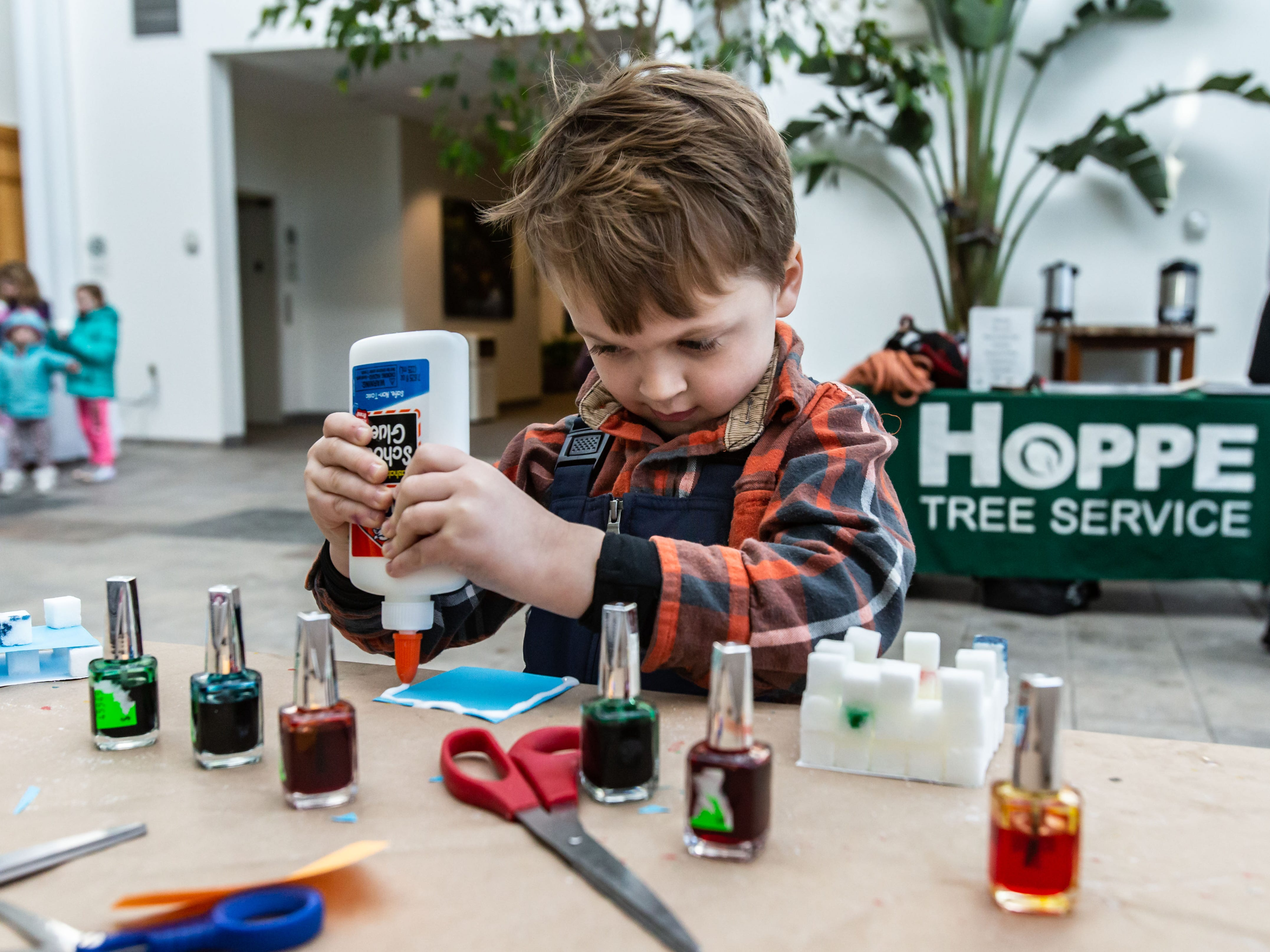 Four-year-old David Gleason of Hales Corners builds a sugar cube ice sculpture during Winterfest at Boerner Botanical Gardens in Hales Corners on Sunday, Jan. 20, 2019. The annual event, hosted by the Friends of Boerner Botanical Gardens, features children's crafts, informational displays, expert-led nature walks and more.