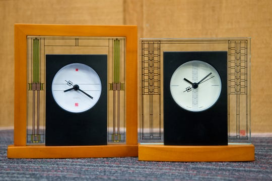 Frank Lloyd Wright designs are incorporated into these tabletop clocks from the Little Swiss Clock Shop. Measuring 6 1/2 and 7 1/2 inches tall, they sell for $86 and $107.