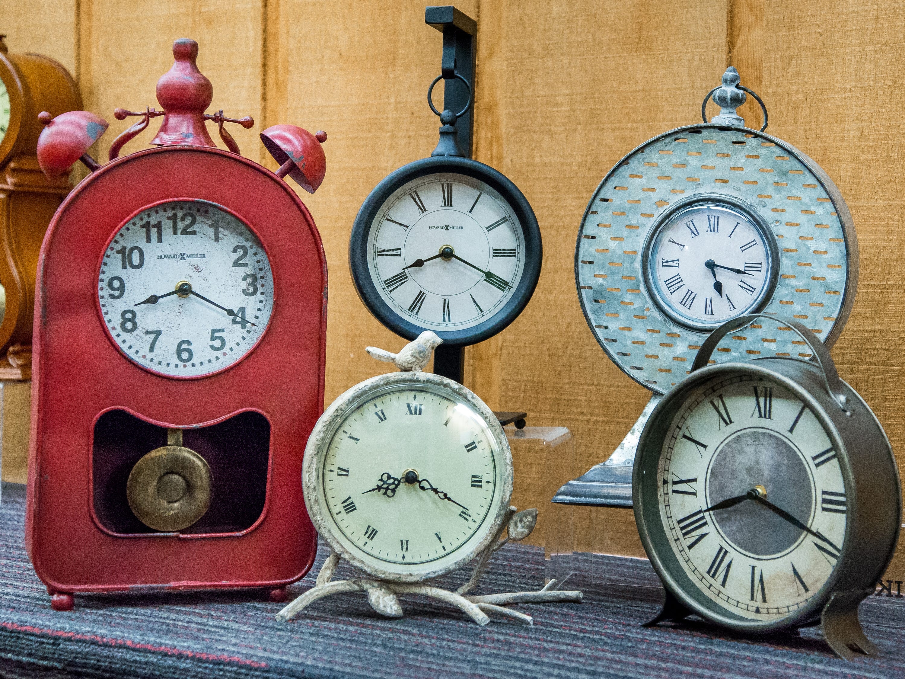 These industrial mantel clocks from the Little Swiss Clock Shop come in a variety of metals, range in height from 9 to 19 inches and sell for $49 To $139.