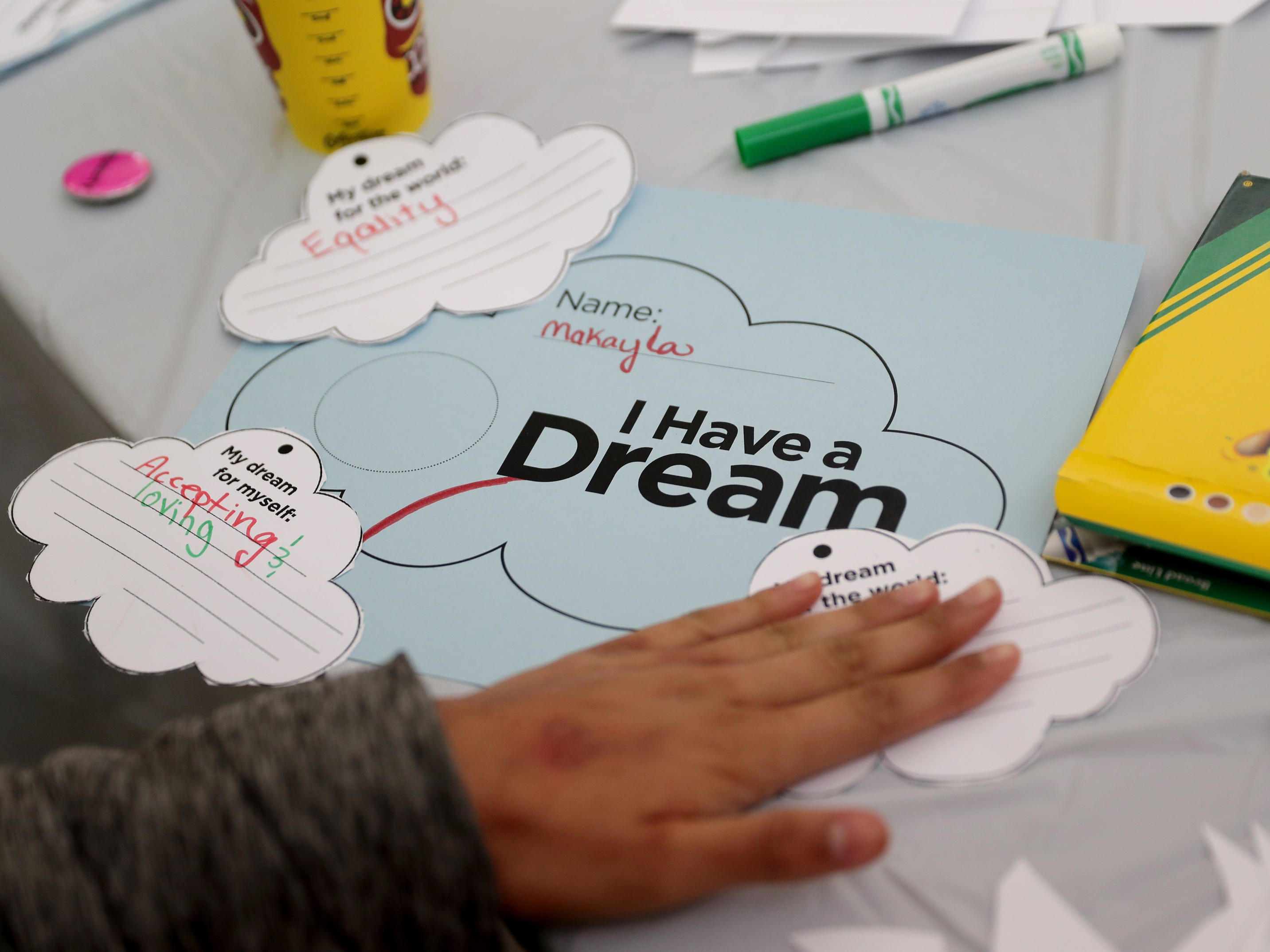 "An ""I Have a Dream"" sheet is worked on during a celebration of the life Martin Luther King."