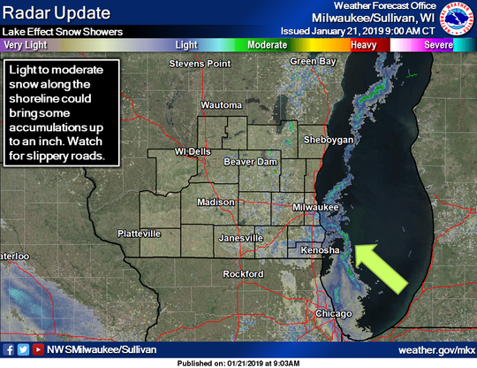Lake effect snow was impacting areas of the Lake Michigan shoreline in southern Wisconsin on Monday morning.
