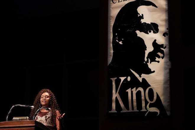 Ariana Cawthorn, a senior at Eastbrook Academy who is a Dr. Martin Luther King Jr. speech contest winner, delivers her speech about King during the 35th Annual Dr. Martin Luther King Jr. Birthday Celebration at the Marcus Center for the Performing Arts in Milwaukee on Sunday.