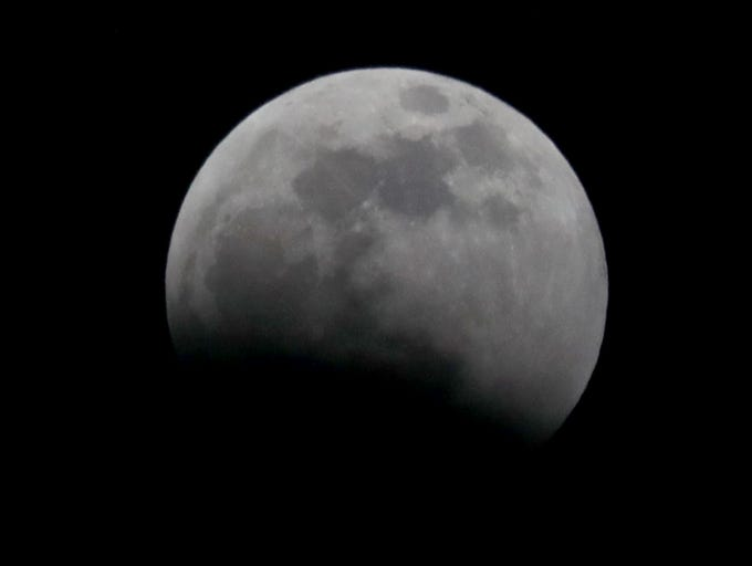 The start of a total lunar eclipse is seen in Bayside on Sunday, Jan. 20, 2019.  It was also before a supermoon, blood moon and wolf moon.