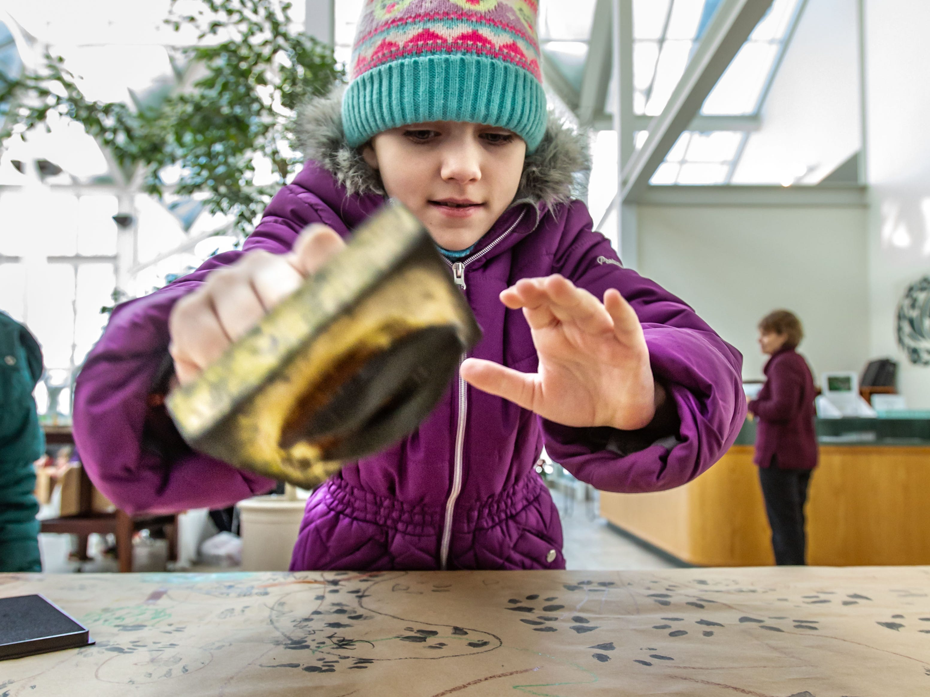 Emaline Shipley, 8, of Milwaukee, creates white-tailed deer tracks with an ink stamp during Winterfest at Boerner Botanical Gardens in Hales Corners on Sunday, Jan. 20, 2019. The annual event, hosted by the Friends of Boerner Botanical Gardens, features children's crafts, informational displays, expert-led nature walks and more.