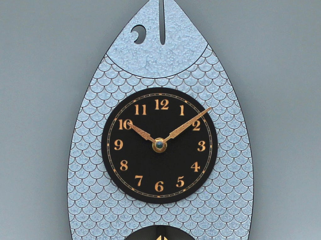 Fun for a bathroom, this Wanda fish clock from leonietime.com, in laser-etched, painted wood, sells for $100.