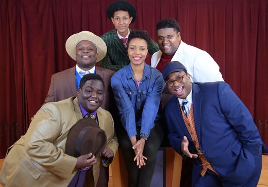 "Director Malkia Stampley (center) poses with the title dudes of Skylight Music Theatre's ""Five Guys Named Moe."" From Left: Kevin James Sievert, Shawn Holmes, Sean Anthony Jackson, Lorenzo Rush Jr. and James Carrington."