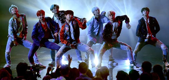 "K-pop phenomenon BTS take center stage in the concert movie ""BTS World Tour Love Yourself' in Seoul."""
