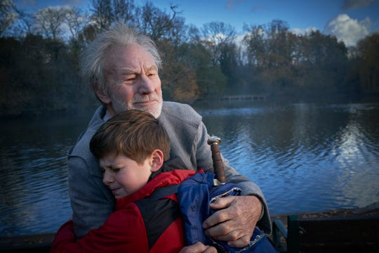 "Merlin (Patrick Stewart) helps Alex (Louis Ashbourne Serkis) face his destiny in ""The Kid Who Would Be King."""