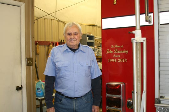 Former Henderson Volunteer Fire Chief John Browning was recognized Saturday during the department's open house. The department commemorated his service on its Rescue #7 unit.