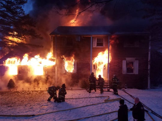 A fire that started in the garage of this home on Ridge Road in Roxbury quickly spread to the dwelling, causing major damage. January 20, 2019.