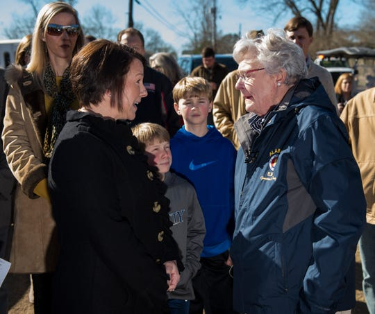 U.S. Rep. Martha Roby speaks with Gov. Kay Ivey as they survey tornado damage in Wetumpka, Ala., on Monday, Jan. 21, 2019.