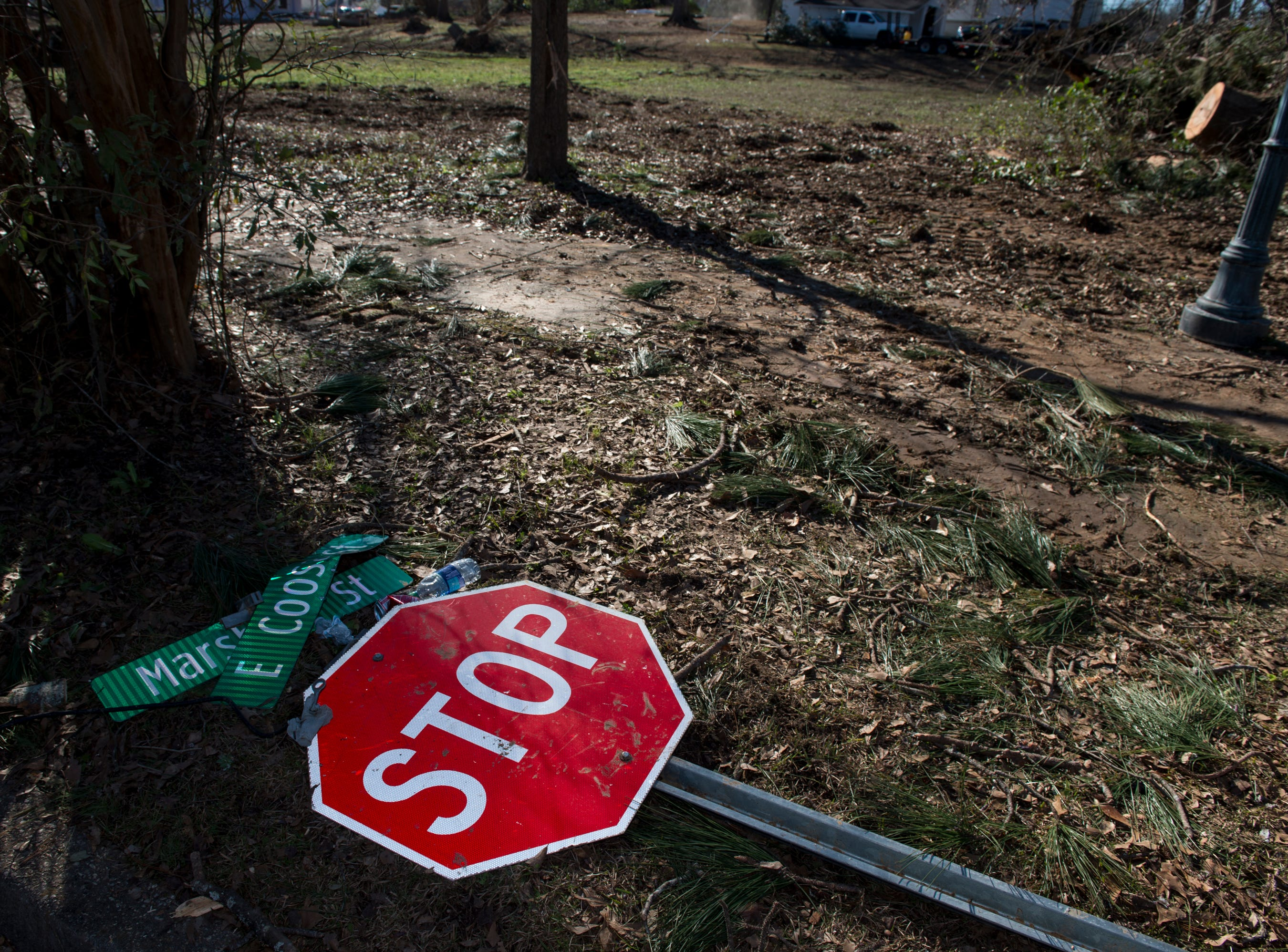 A fallen sign among the tornado damage in Wetumpka, Ala., on Monday, Jan. 21, 2019.