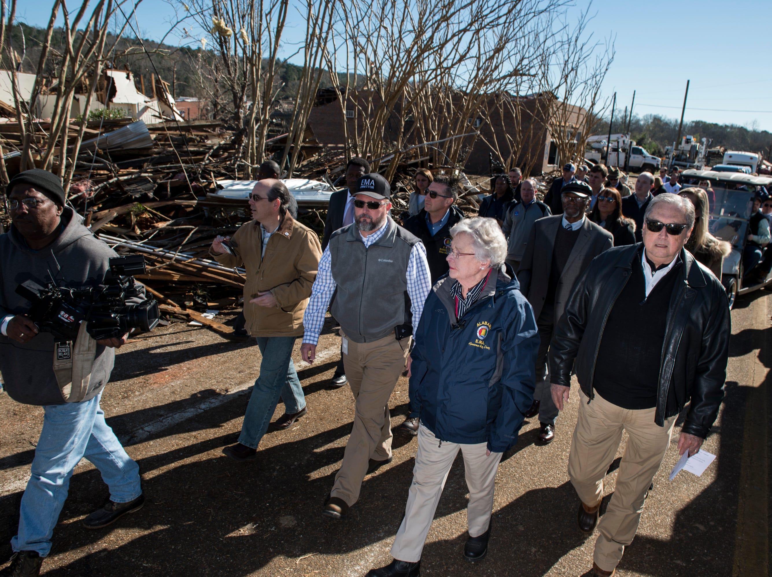 Gov. Kay Ivey and Wetumpka Mayor Jerry Willis survey tornado damage in Wetumpka, Ala., on Monday, Jan. 21, 2019.