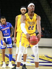 Tennessee Tech's Courtney Alexander II shoots a granny-style free throw in a recent game against Tennessee State.