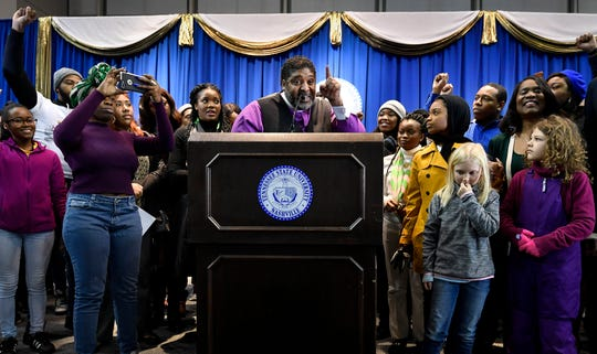 Rev. William J. Barber addresses the audience after calling all students to the stage at the end of his address at the Martin Luther King Jr. 30th Commemorative Convocation TSU's Gentry Center Monday, Jan. 21, 2019, in Nashville, Tenn.