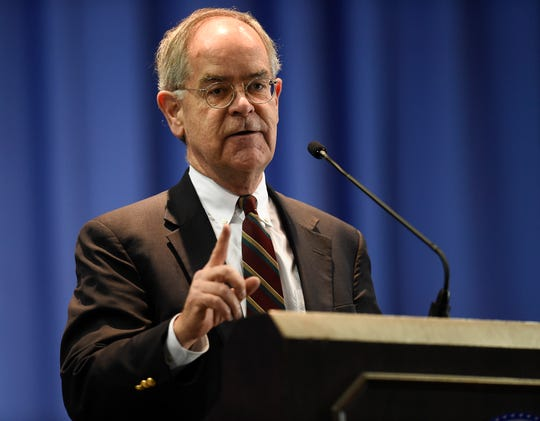 U.S. Congressman Jim Cooper addresses the audience at the Martin Luther King Jr. 30th Commemorative Convocation TSU's Gentry Center Monday, Jan. 21, 2019, in Nashville, Tenn.