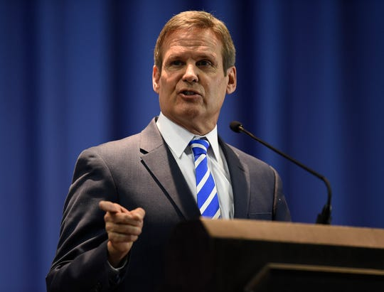 Tennessee governor Bill Lee addresses the audience at the Martin Luther King Jr. 30th Commemorative Convocation TSU's Gentry Center Monday, Jan. 21, 2019, in Nashville, Tenn.