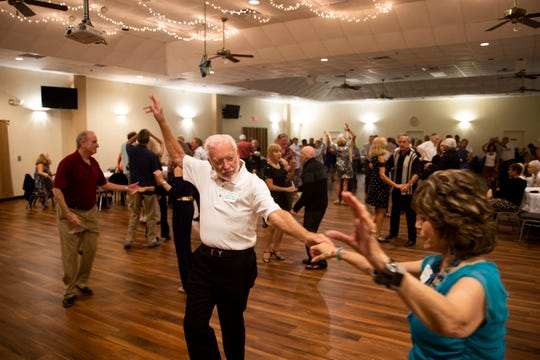 William Devenney and Mary Domres dance together during a dance night held by the Gulf Breeze Bop Club at Elks Lodge in Bonita Springs on Friday, January 18, 2019.