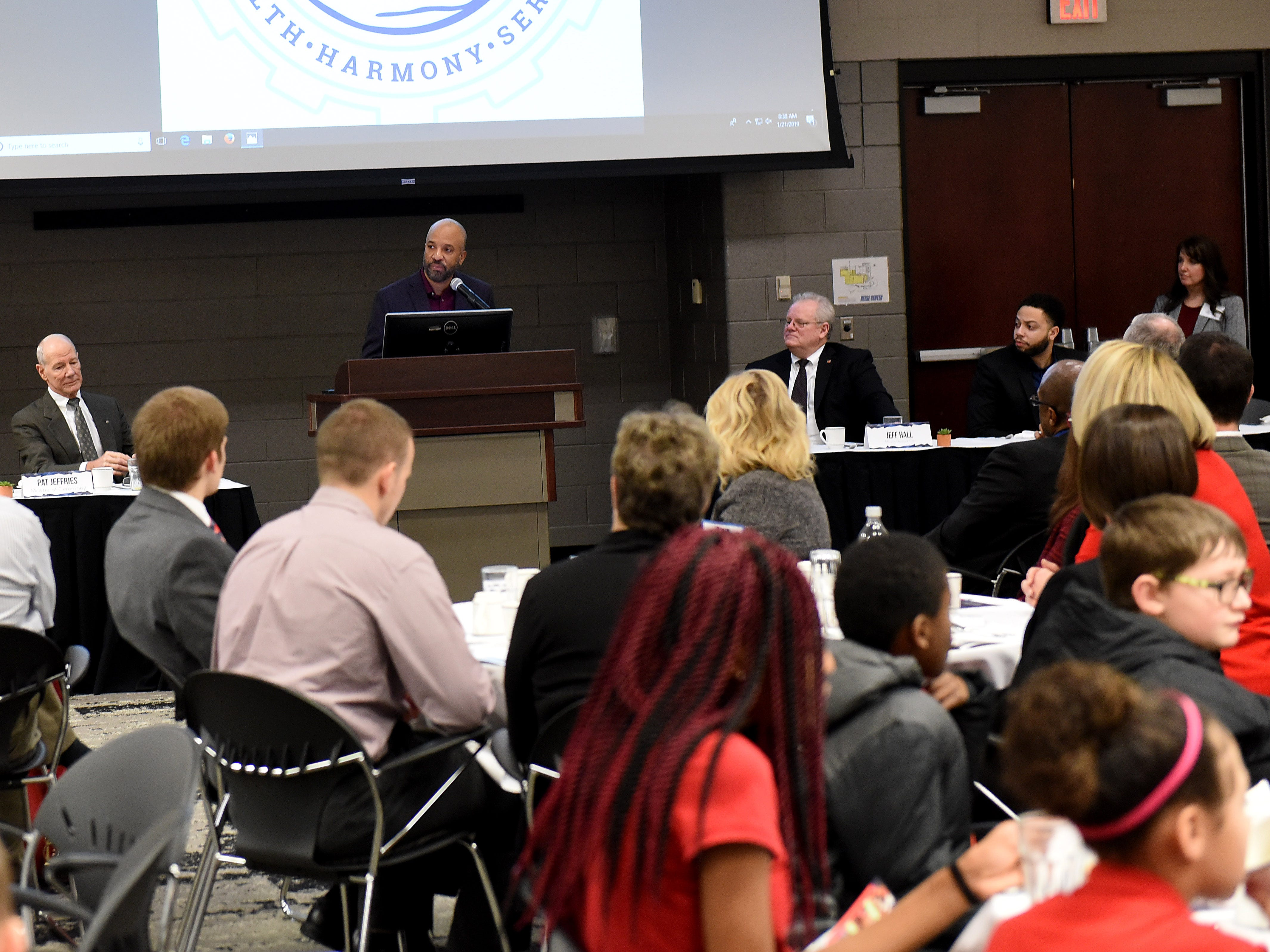 Par Excellence Academy board member Michael A Nobel speaks about Par Excellence Academy's learning center and the expanded efforts during the school's annual Martin Luther King Jr. Day breakfast at the John Gilbert Reese Center on the campus of OSU Newark.