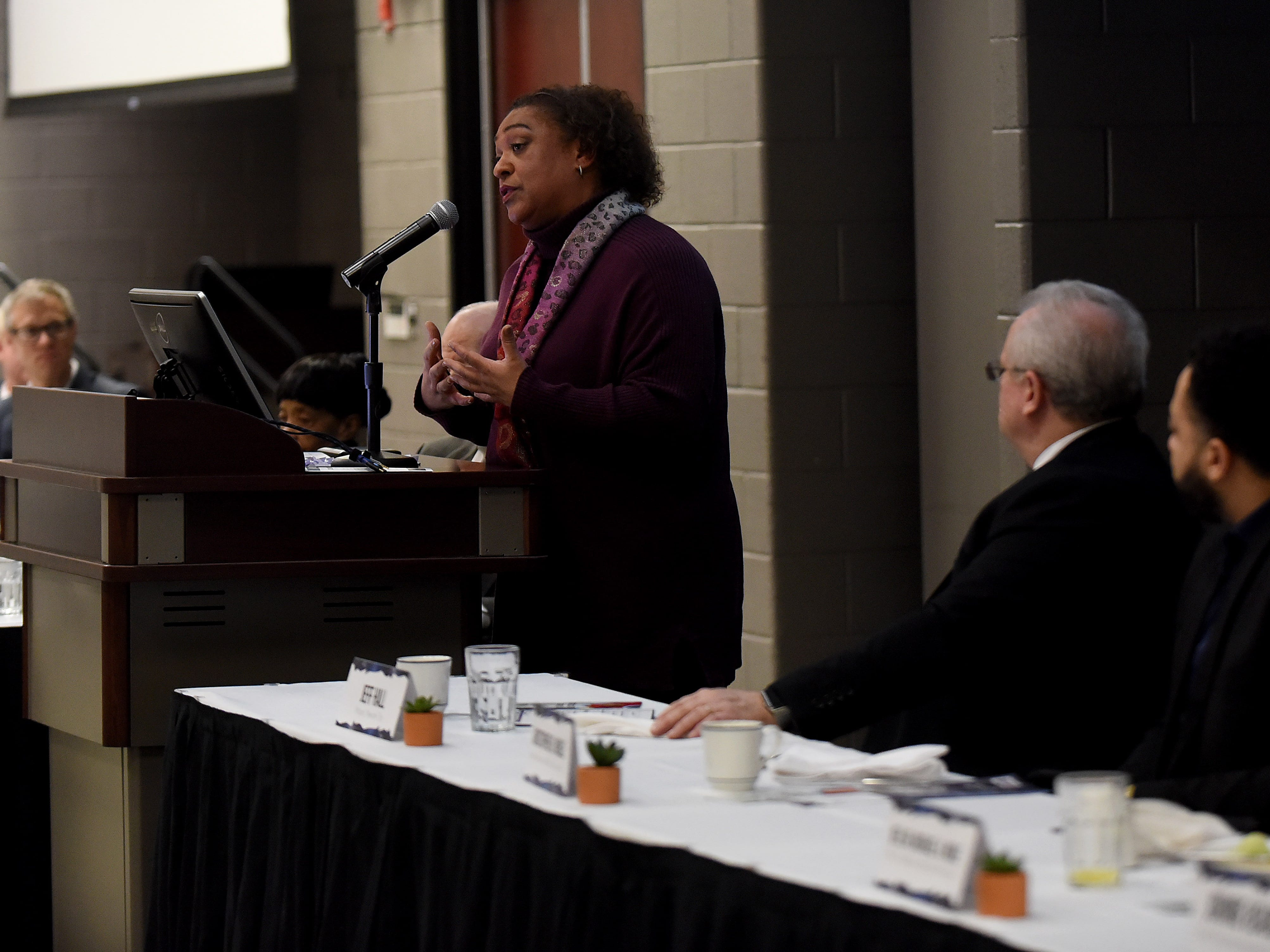 Par Excellence Academy superintendent Gisele James talks about her pride in the community school's students during the school's annual Martin Luther King Jr. Day breakfast at the John Gilbert Reese Center on the campus of OSU Newark.