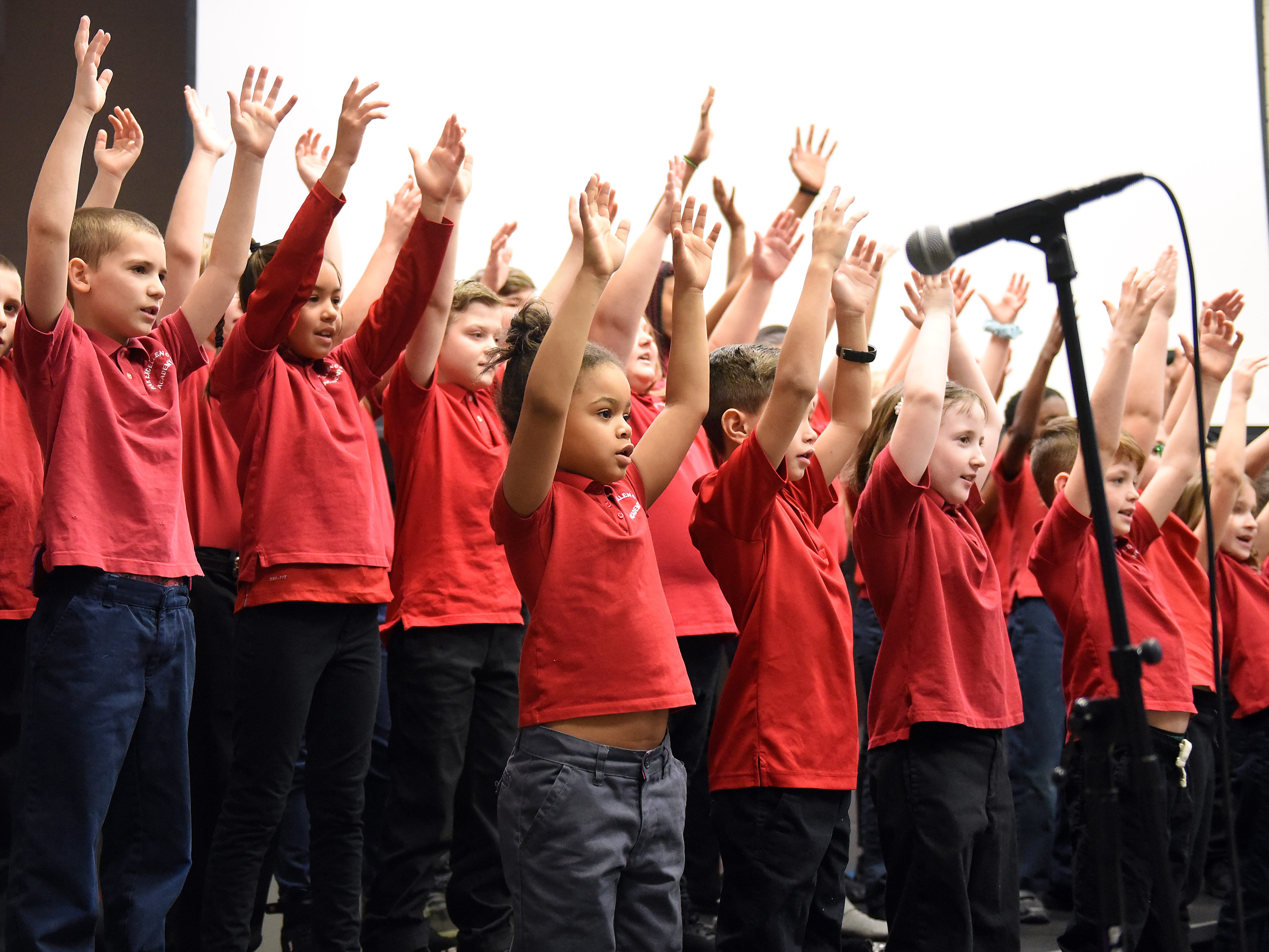 """Par Excellence Academy choir of """"""""MLK Kids"""" perform for parents and guests during the community school's annual Martin Luther King Jr. breakfast  at John Gilbert Reese Center on the campus of OSU Newark."""