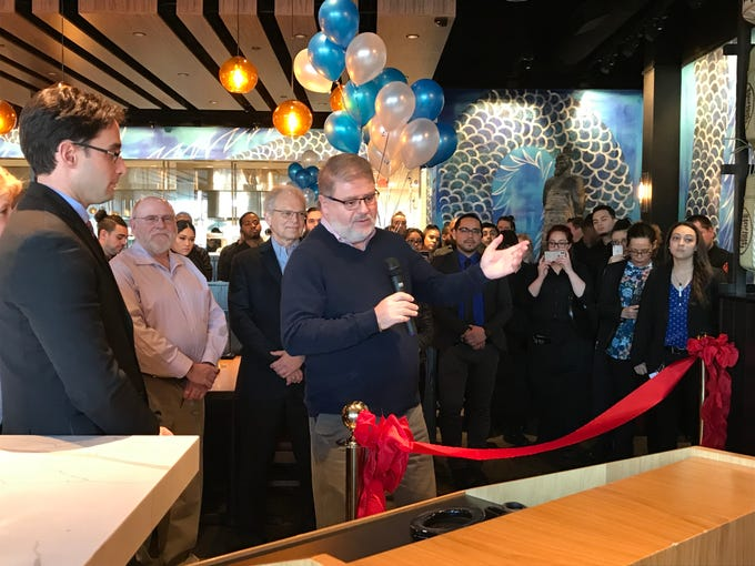 Wayne Mayor Chris Vergano helps open the new P.F. Chang's at Willowbrook Mall in Wayne Jan. 21, 2019.