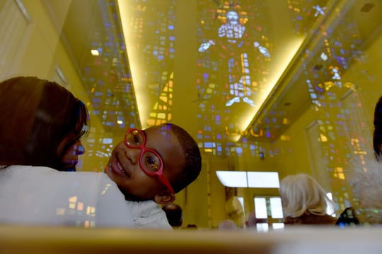 Donovan King. 3 1/2 years old of Ridgewood, N.J., with his mother, Judy, at t the Ridgewood United Methodist Church, which held its 37th year of honoring Dr. Martin Luther King, Jr. in Ridgewood, on Monday January 21, 2019. Area residents and religious leaders from many faiths attended the annual event.