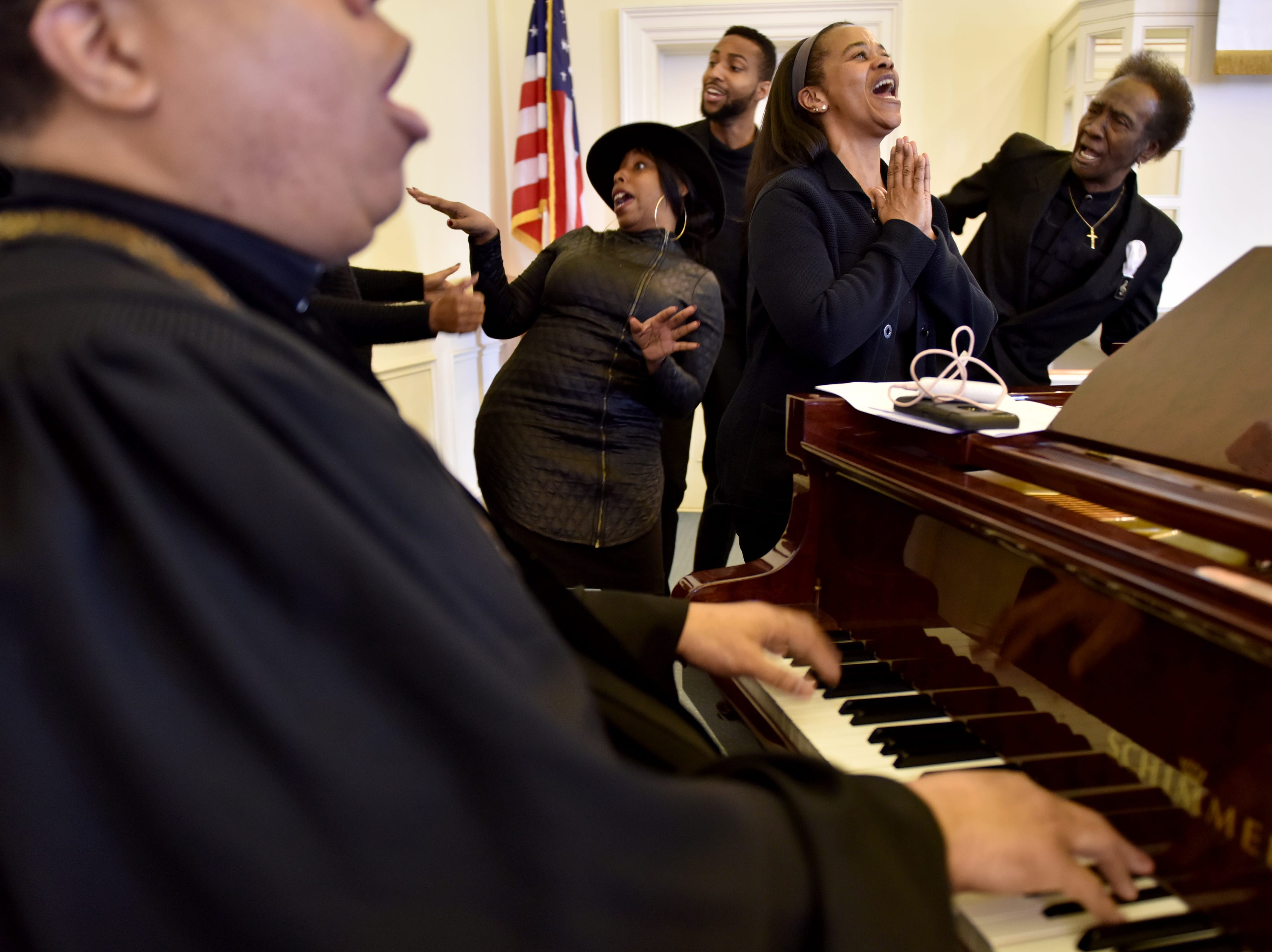 Rev. Mark Brandon and The Connection of Metropolitan A.M.E. Zion Church, of Ridgewood, N.J. perform at the Ridgewood United Methodist Church, which held its 37th year of honoring Dr. Martin Luther King, Jr. in Ridgewood, on Monday January 21, 2019. Area residents and religious leaders from many faiths attended the annual event.