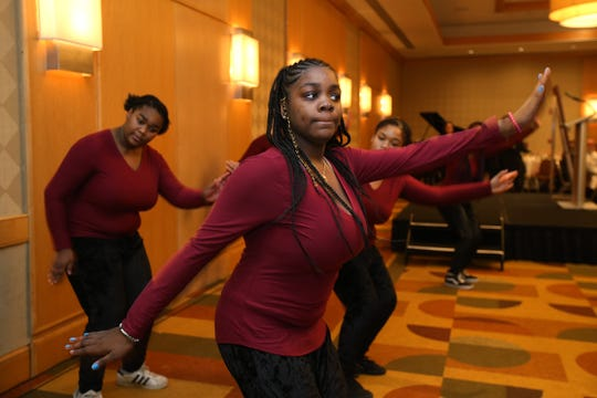 Members of the Morristown High School Steppers perform during the 34th Annual Morris Interfaith Breakfast in celebration of the 90th birthday of Dr. Martin Luther King Jr. and the 49th anniversary of the Martin Luther King Observance Committee at the Hyatt Regency Morristown in Morristown, NJ Monday January 21, 2019.