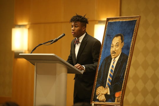 B.J. Lamadieu, 17, of Morristown, delivers his speech as the youth speaker during the 34th Annual Morris Interfaith Breakfast in celebration of the 90th birthday of Dr. Martin Luther King Jr. and the 49th anniversary of the Martin Luther King Observance Committee at the Hyatt Regency Morristown in Morristown, NJ Monday January 21, 2019.
