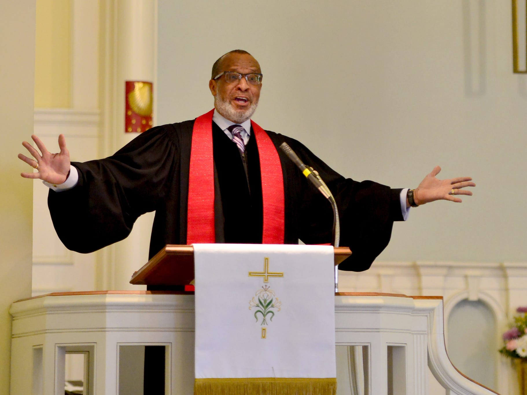 Rev. Gregory Jerome Jackson, of Mount Olive Baptist Church, Hackensack, N.J., lead the sermon at the Ridgewood United Methodist Church, which held its 37th year of honoring Dr. Martin Luther King, Jr. in Ridgewood, N.J. on Monday January 21, 2019. Area residents and religious leaders from many faiths attended the annual event.