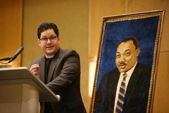 Rev. Dr. Javier A. Viera, dean of the Drew University Theological School, gives his commemoratve message during the 34th Annual Morris Interfaith Breakfast in celebration of the 90th birthday of Dr. Martin Luther King Jr. and the 49th anniversary of the Martin Luther King Observance Committee at the Hyatt Regency Morristown in Morristown, NJ Monday January 21, 2019.