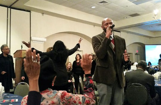 Soloist Roi Hines performs along with the New Mexico State University Gospel Choir at the opening of the 2019 Doña Ana County NAACP MLK Breakfast, held Monday, Jan. 21 at Hotel Encanto in Las Cruces.