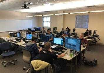 Jammers take part in Game Jam 2018 at Doña Ana Community College.