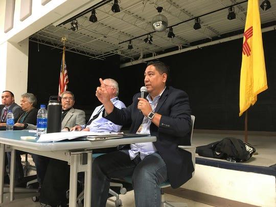 Las Cruces Public Schools board member Ray Jaramillo, right, speaks during a special board meeting at Jornada Elementary School on Thursday, Jan. 17.