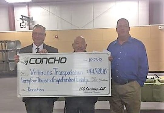 Concho Resources donated $44,880.47  to the SENM Veterans Transportation Network.  The donated funds were raised at the annual Concho Classic Clay Shoot, held every year in Artesia, and will assist the organization to focus on supplying transportation for veterans to the VA hospital.  Pictured, from left, are Concho General Manager Paul Porter, SENM Veterans Transportation Network President Magil Duran, and Concho Senior Staff Electrical Engineer Jack Callaway.