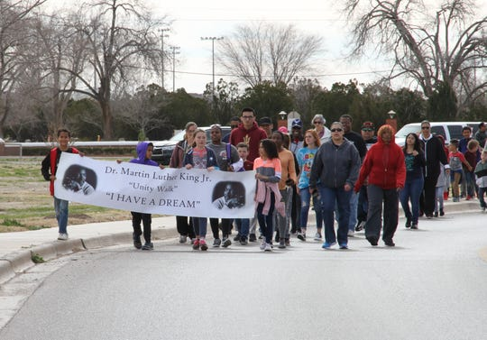 About 100 Alamogordo residents participated in the Martin Luther King Jr. Memorial March Monday, Jan. 21, 2019.