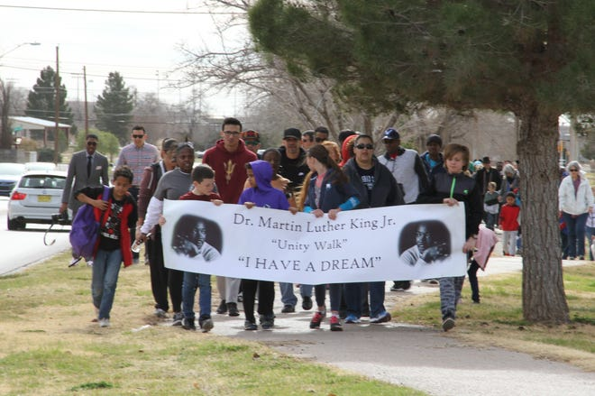 About 100 Alamogordo residents participated in the Martin Luther King Jr. Memorial Day March Monday, Jan. 21, 2019.