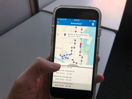 The Bowen/Hazel route is seen on the newly launched GO Transit app. The app tracks buses in real time and lists arrival times for each stop.